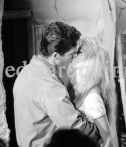 "Brigitte Bardot and Stephen Boyd during the filming of ""Les Bijoutiers du clair de lune"" (""The Night Heaven Fell""), on the grounds of the Victorine Film Studios in Nice. Directing the film is Brigitte's ex-husband Vadim. Nice 1958."