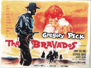 """The Bravados"" Posters: capitalizing on Stephen Boyd's ravishment of Kathleen Gallant in the movie"