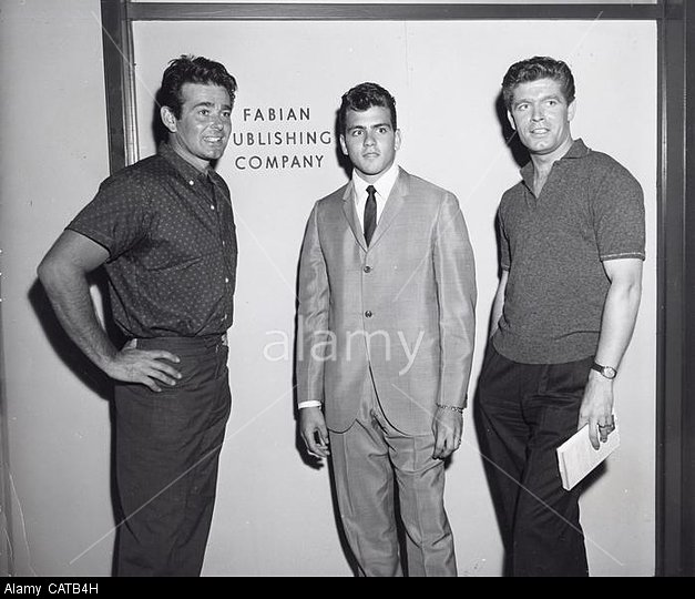 FABIAN.AKA Fabiano Anthony Forte Bonaparte.with Stuart Whitman and Stephen Boyd on the set of The Best of Everything.Supplied by   Photos inc.(Credit Image: A© Supplied By Globe Photos Inc/Globe Photos/ZUMAPRESS.com)